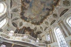 德国-美因法-在天花板壁画,壁画的绘画在Augusti 库存照片