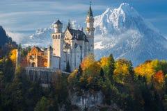 德国 著名新天鹅堡城堡在多雪的山和树背景中与黄色和绿色叶子 免版税库存图片