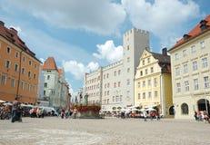 德国haidplatz雷根斯堡方形城镇 免版税库存照片
