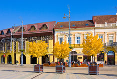 德布勒森,匈牙利- 2015年10月31日:农贸市场(匈牙利语:Piac utca),主要街道在德布勒森市,匈牙利 库存照片