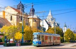德布勒森,匈牙利- 2015年10月31日:在农贸市场(匈牙利语上的电车:Piac utca),主要街道在德布勒森 免版税图库摄影
