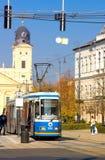 德布勒森,匈牙利- 2015年10月31日:在农贸市场(匈牙利语上的电车:Piac utca),主要街道在德布勒森 库存照片