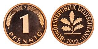 德意志联邦共和国1芬尼硬币1992年 图库摄影