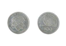 100德拉克马硬币 免版税库存照片
