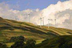 德文郡幽谷苏格兰windfarm 库存照片