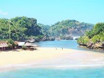 德林河海滩,印度尼西亚 免版税库存照片