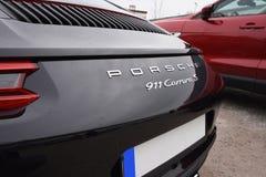 德根多尔夫,德国- 23 2016年4月:2016年保时捷911 Carrera S在豪华汽车介绍时在德根多尔夫 免版税库存照片