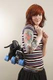 德比女孩四轮溜冰者 免版税图库摄影