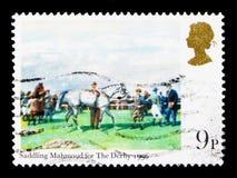 德比的备鞍的穆罕默德, Horseracing绘画serie,大约1979年 免版税库存照片