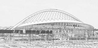德班橄榄球场摩西为2010年橄榄球修造的Mabida的线条图翻译世界杯在南非 库存照片