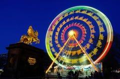 德累斯顿圣诞节市场弗累斯大转轮 库存照片