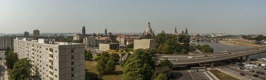 德累斯顿地平线空中全景  图库摄影