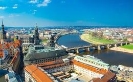 德累斯顿市全景从路德教会,德国的 免版税库存图片