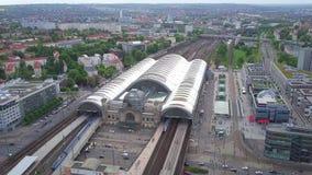 德累斯顿,德国- 2018年5月2日 中央火车站鸟瞰图  库存照片