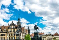 德累斯顿,萨克森的古都 对约翰Saxon和王宫国王的纪念碑德累斯顿 图库摄影