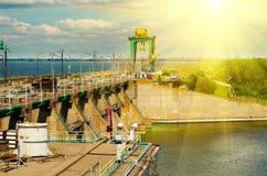 德聂伯级水力发电河岗位乌克兰zaporozhye 库存照片