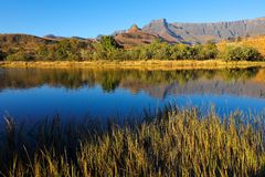 德肯斯伯格山和反射-南非 库存图片