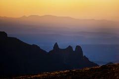 德肯斯伯格日落,南非 免版税图库摄影