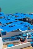 德西迪Bu前述蓝色的城市 库存照片