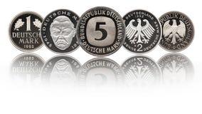德语一枚,两枚和5马克德国硬币 免版税库存照片