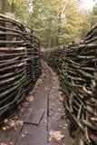 德语掘沟WWI - Bayernwald 库存图片
