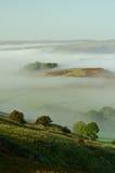 德贝郡有薄雾的早晨 免版税库存照片