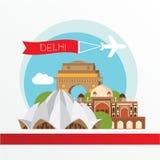 德里印度传染媒介剪影  背景城市设计您地平线的向量 免版税库存照片