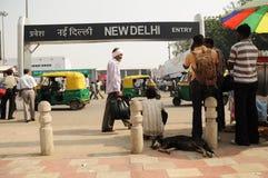 德里印度新的火车站 免版税库存图片
