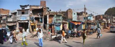德里印度老全景贫民窟 免版税库存图片