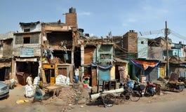 德里印度老全景贫民窟 库存图片