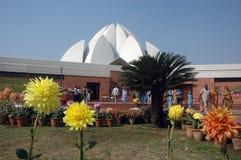 德里印度莲花新的寺庙 免版税库存图片