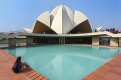 德里印度莲花新的寺庙 库存照片