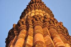 德里印度minar qutub 结构上大厦详细资料屋顶 图库摄影