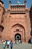德里堡垒给印度大量红色装门 图库摄影