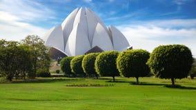 德里横向莲花新的美丽如画的寺庙 免版税图库摄影