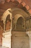 德里皇帝堡垒印度mughal红色王位 库存照片