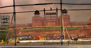 德里红堡Lal Qila德里印度 免版税库存图片