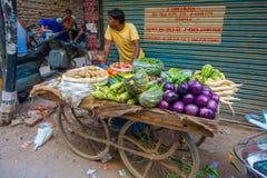 德里,印度- 2017年9月25日:一个推车的户外的未认出的人有菜的,在Paharganj德里与 免版税库存图片