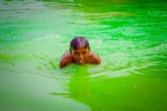 德里,印度- 2017年9月16日:未认出的印地安男孩游泳和使用在水,绿色水中在池塘  免版税库存照片