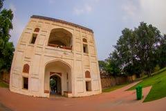 德里,印度- 2017年9月19日:Humayun坟茔,德里,印度美丽的景色  联合国科教文组织世界遗产名录站点,它是 库存图片