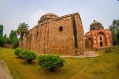 德里,印度- 2017年9月19日:Humayun坟茔,德里,印度美丽的景色  联合国科教文组织世界遗产名录站点,它是 库存照片