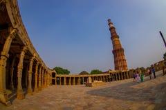 德里,印度- 2017年9月25日:Qutub Minar,一联合国科教文组织世界heritag站点,创立在被找出的13世纪初 免版税库存照片