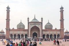 德里,印度- 12 5 2017年;Jama Masjid 图库摄影