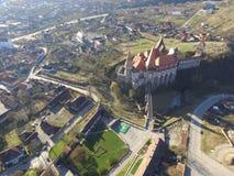 德雷库拉城堡鸟瞰图  免版税库存照片