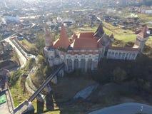 德雷库拉城堡鸟瞰图  免版税库存图片