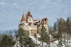 德雷库拉` s在冬天季节的麸皮城堡 库存照片