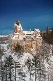 德雷库拉` s城堡在冬天 库存图片