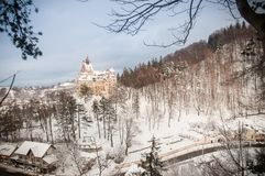 德雷库拉` s城堡在冬天 免版税库存照片