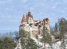 德雷库拉` s麸皮城堡在冬天 库存照片