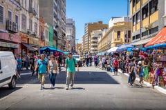 25德马尔科街,普遍的购物街道在街市圣保罗-圣保罗,巴西 图库摄影